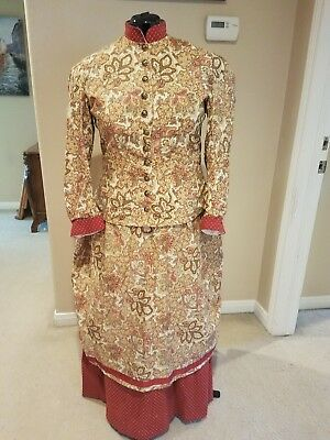 Victorian bustle dress in cotton paisley red cream and gold