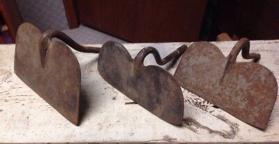 Vintage Lot of 3 Hoe Cultivator Heads Farm Tools Steampunk