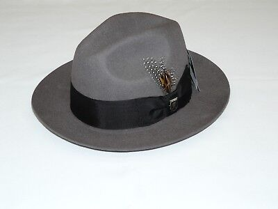 Mens STACY ADAMS Hat Soft Wool Felt Crushable 2.5 inch Brim Fedora SAW536  Gray a427ad274fe7