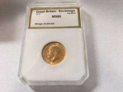 1913 Gold Great Britain full  Sovereign KM#820 King