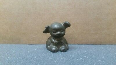 Vintage Hines Pup Dog Cast Iron Paperweight No Paint