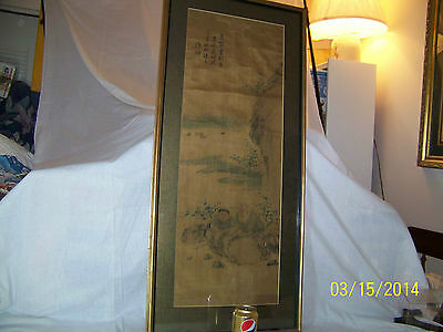 "Antique ""OLD""Chinese Qing Dy Original Panel Painting On Silk Paper Signed Framed"