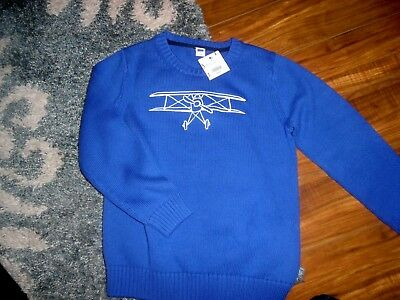 Nwt Janie & Jack Beautiful Crew Neck Sweater With Embroidered Airplane Size 7