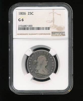 1806-P Draped Bust Silver Quarter 25C NGC GOOD 6 G 06 Type 2 Heraldic Eagle RARE
