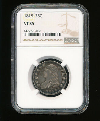 1818-P Capped Bust Silver Quarter 25C NGC VF 35 Type 1, Large Size RARE