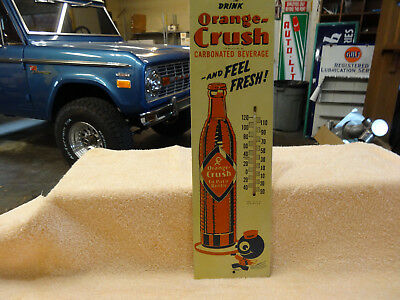 Old Rare Orange Crush Soda Thermometer Masonite 1943