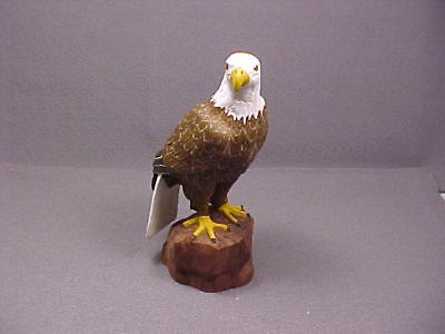 Carved & Painted Wood Wooden Bald Eagle by Lou Baumann 1992 Glass Eyes NICE
