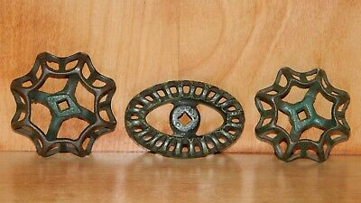 Lot 3 Vintage WATER VALVE FAUCET HANDLES KNOB Steampunk ARTS & CRAFTS Iron