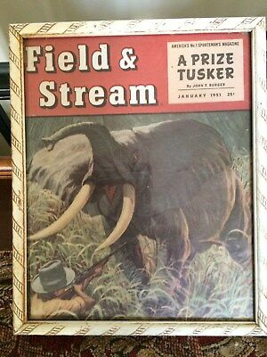 "Framed 1951 Field and Stream Cover "" A Prize Tusker "" Great Man Cave Decor!!!"