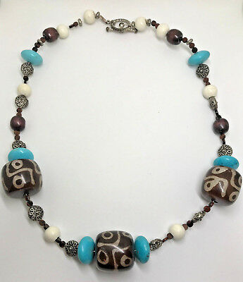 Vtg Faux Turquoise Wooden Bead Large Chunky Necklace Boho Blue Brown Bold Ethnic