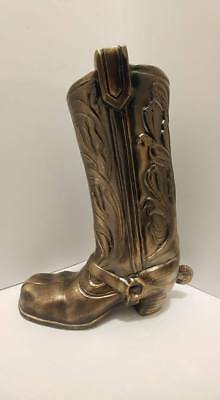 """Vintage Ornate Brass Western Cowboy Boot By Accurate Cast 9"""" Tall Horse Spur"""