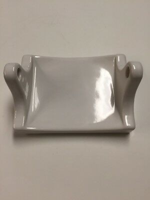 Vintage White Porcelain Ceramic Toilet Paper Tissue Holder Bathroom tile-mount
