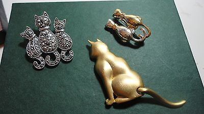Vintage Lot of 3 Cat Brooches Pins - Mechanical Tail Moves