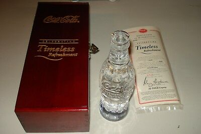 Coca Cola Crystal Bottle w Display Case-Timeless Refreshment -New Millinnium