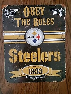 Vintage Style Pittsburgh Steelers NFL Embossed Obey The Rules Metal Sign