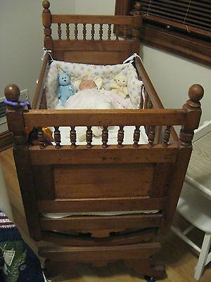 Antique Victorian Baby Cradle - Carved Walnut - includes new mattress