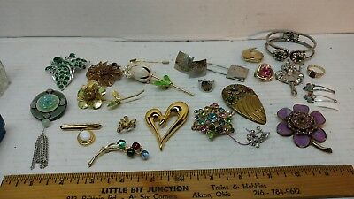 Lot of Vintage Antique Jewelry - Brooch Bracelet Pin Ring Earring Cuff Links