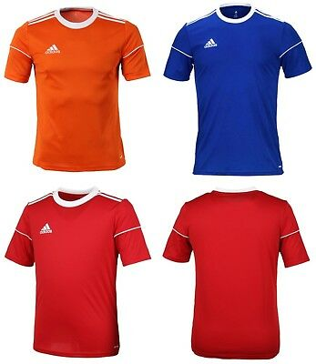 Adidas Youth Squadra 17 Training Soccer Climalite Red Blue S/S Kid Shirts BJ9196