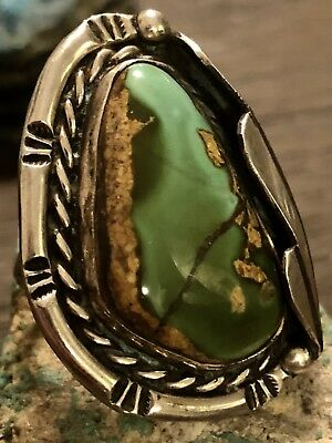 Large Old Pawn Navajo Sterling & Royston Turquoise Ring 14g Size 7 No Reserve