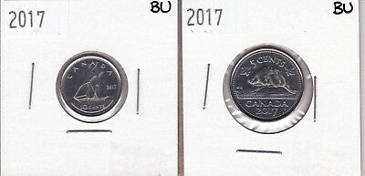 2017 10c & 5c Beaver Canadian Coins - not for circulation