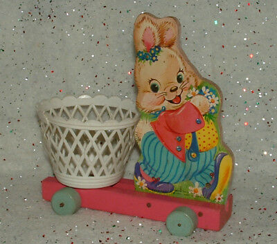 Vtg Fisher Price #303 Easter Bunny Wood Pull Toy Plastic Basket Pink Wagon Cart
