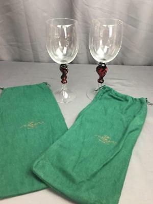 VntG 70' Italian Murano Hand Blown Lovers Wine Goblets W/ Covers Signed