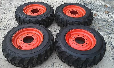 4 NEW 10X16.5 Skid Steer Tires & Rims for Bobcat - 10-16.5 - 10 ply - CUSTOM RIM