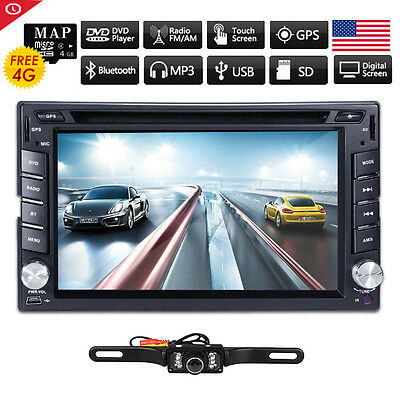Double 2Din Car Stereo DVD Player GPS Navigation Bluetooth iPOD TV+Backup Camera