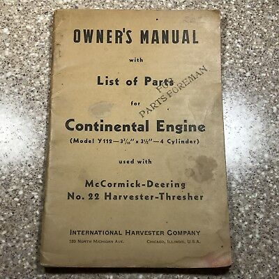 International Harvester Company Owner's Manual - Continental Engine #22 Thresher