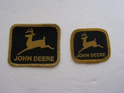 """2 Vintage John Deere Sew on Patches 3"""" x 2.5"""" and 2"""" x 2.25"""" Black and Gold"""