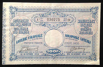Belgian Congo, Colonial Lottery Ticket, 100 Francs, 18 October 1934
