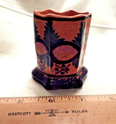 Vtg Henriot Quimper Pottery 6-Sided Toothpick Holder, Terracotta W/grn Leaves