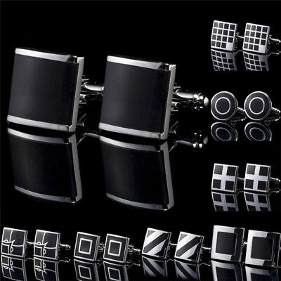 1Pc Black Stainless Steel Mens Cufflinks Shirt Cuff Links Wedding Party Gift E&F