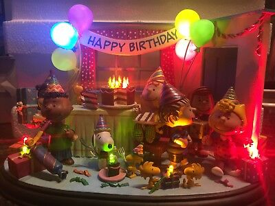 Peanuts Best Birthday Ever The Danbury Mint Lighted Sculpture Used Great Cond
