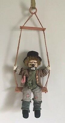 "Vtg 16"" Marionette  Puppet Clown Doll Wooden Swing Porcelain Head Hand Painted"