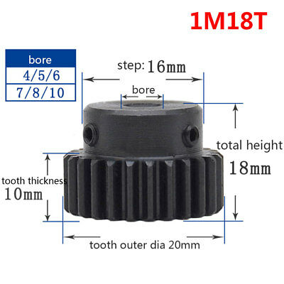 1 Mod 18T Spur Gear 45# Steel Pinion Gear Bore 4/5/6/6.35/8/10MM With Grub Screw