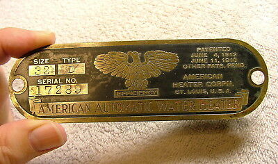 Brass Industrial Water Heater Nameplate Machine Age Steampunk 1910s - 1920s ?