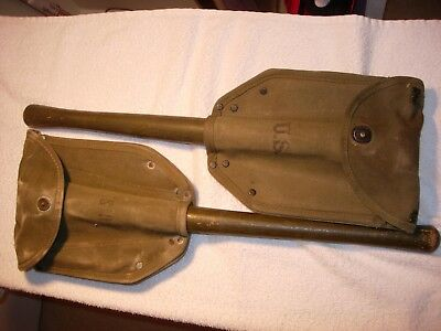 2-US WWII folding shovels,entrenching tools&Covers-All Dated 1945-MFG Wood& Ames