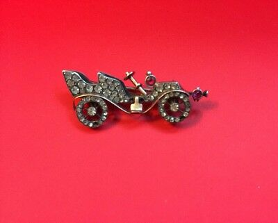 Antique Gold And Sterling Silver Car Red/white Rhinestone Brooch/pin