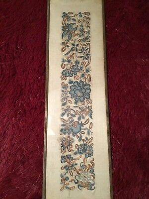 Fine Antique Qi'ing 19Th Chinese Embroidered Silk Panel Sleeve Band Embroidery