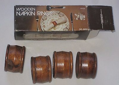Action Industries Vintage Set Of 4 Brown Wooden Napkin Rings With Box
