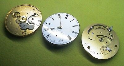 Lot Of 3 Antique English Pocket Watch Movements For Repair Or Parts