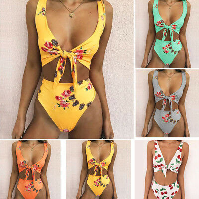 Women High Waist Floral Bikini Set Push-up Padded Swimsuit Bathing Suit Swimwear