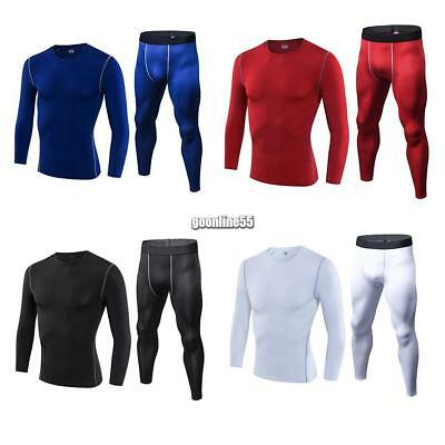 Men Sports Gym Fitness Shapewear Thermal Base Compression Underwear Set EA9