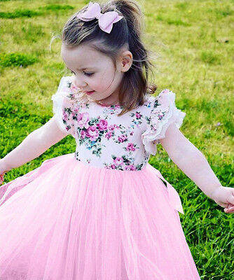Baby Girls Kids Infant Toddler Lace Floral Party Birthday Princess Tutu Dress
