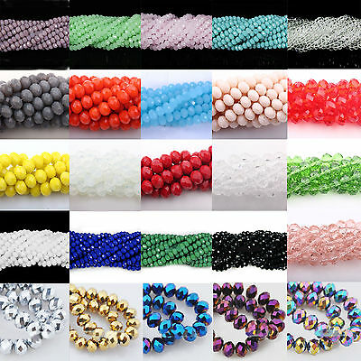 Wholesale Rondelle Faceted Crystal Glass Loose Spacer Charm Beads Finding 4-10MM