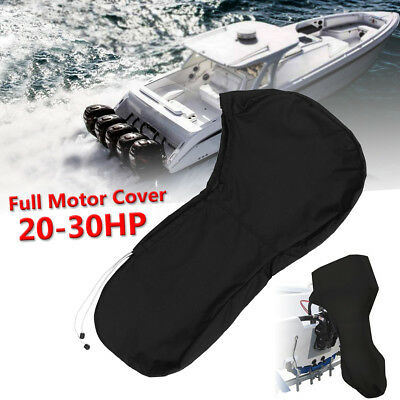 600D Black Boat Full Outboard Engine Cover Fit For 20 To 30HP Motor Waterproof