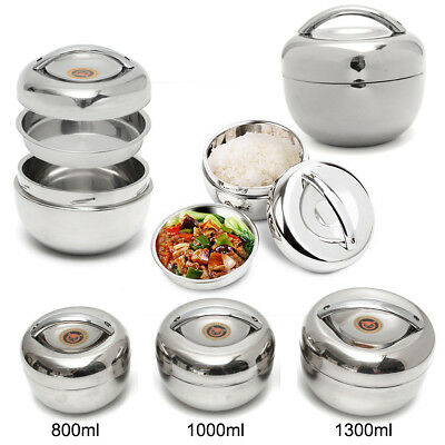 2 Layers Stainless Steel Food Container Thermal Lunch Bento Box Insulated Handle