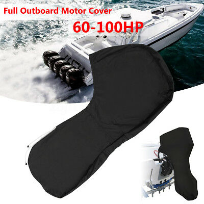 600D Black Boat Full Outboard Engine Cover Fits For 60 To 100HP Motor Waterproof