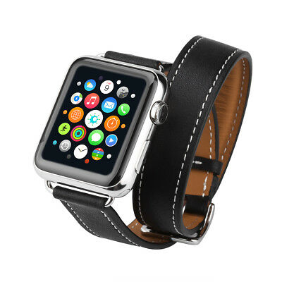 Excelvan Double Tour Cowhide Bracelet Strap Watch Band for Apple Watch 42mm